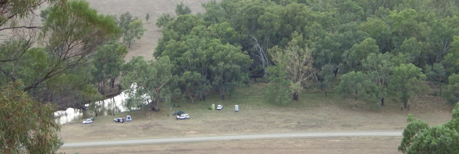 Camp site from the top of Mt Mulguthrie on an overcast morning showing Bumbuggan Creek and its remnant vegetation, and the road along which the Cobb and Co. coaches ran between Forbes and Condobolin. Photo by Merrill Findlay 2 January 2016.