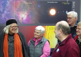 Merrill Findlay (left) with fellow members of the Central West Astronomical Society, Christine Speers (Vice-President, CWAS), John Sarkissian, Lawrence Crowley (Treasurer, CWAS), and Denis Crute @ Parkes Observatory, 3 July 2015.