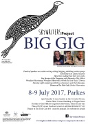 Poster for the Skywriters Project's First 'Big Gig', in Parkes, NSW, 8-9 July 2017.