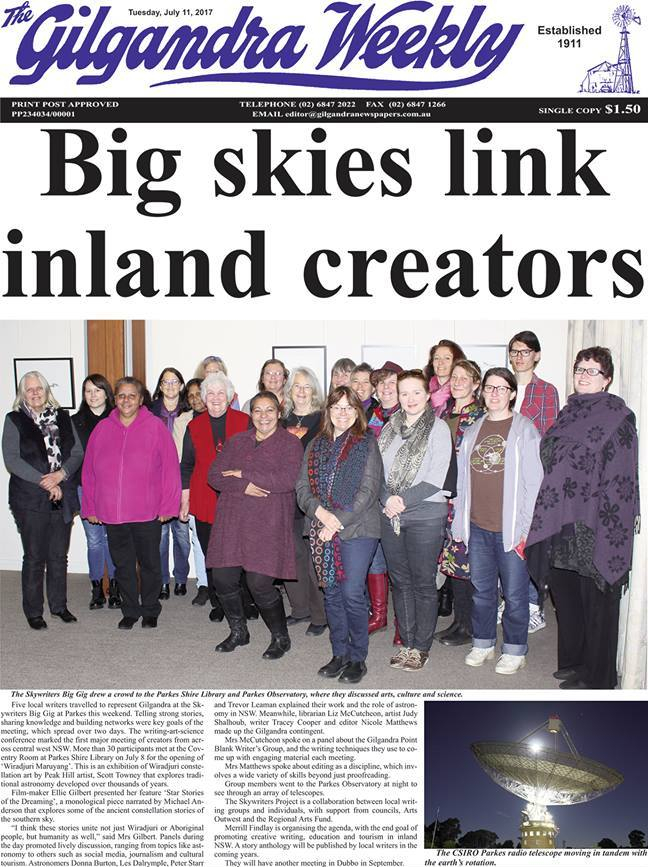 'Big skies link inland creators' by Daniel Pickering, front page, Gilgandra Weekly, July 2017.
