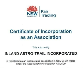 Certificate of Incorporation as an Association for Inland Astro-Trail Incorporated, an initiative of the Skywriters Project, Big Skies Collaboration,: bigskiescollaboration.wordpress.com